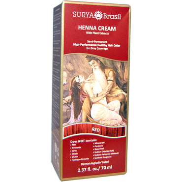 Surya Henna, Henna Cream, Hair Color & Conditioner Treatment, Red, 2.37 fl oz (70 ml)