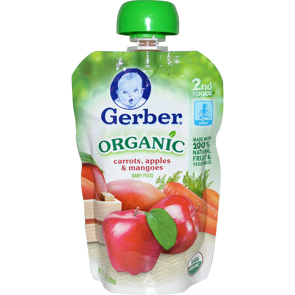 Gerber 2nd Foods Organic Baby Food Carrots Apples & Mangoes 3.5 oz (99 g)