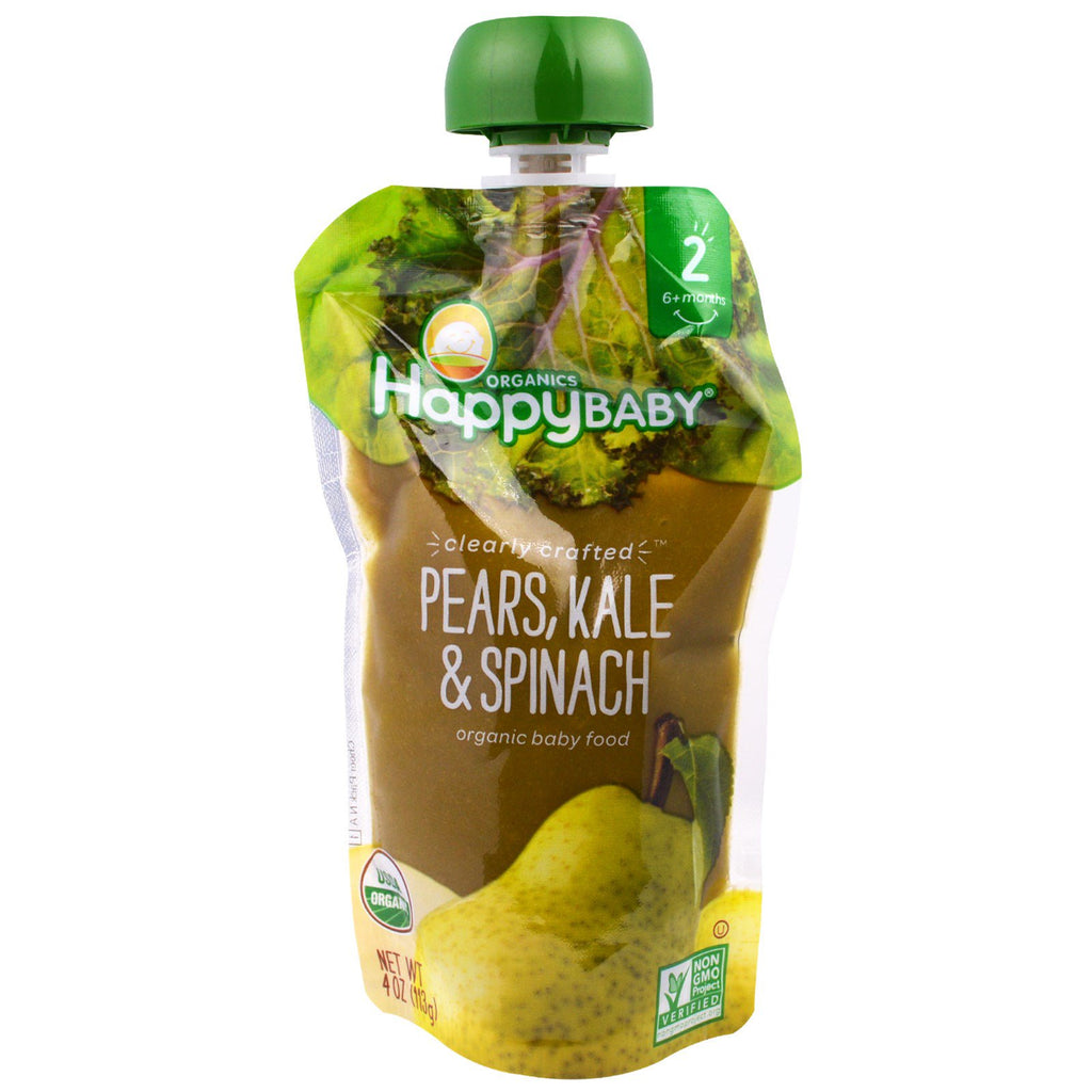 Nurture Inc. (Happy Baby) Organic Baby Food Stage 2 Clearly Crafted 6+ Months Pears Kale & Spinach 4.0 oz (113 g)