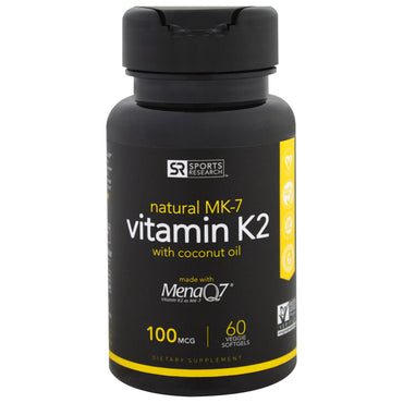 Sports Research, Vitamin K2, 100 mcg, 60 Veggie Softgels