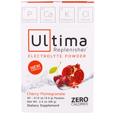 Ultima Health Products, Ultima Replenisher Electrolyte Powder, Cherry Pomegranate, 20 Packets, 0.12 oz (3.4 g)
