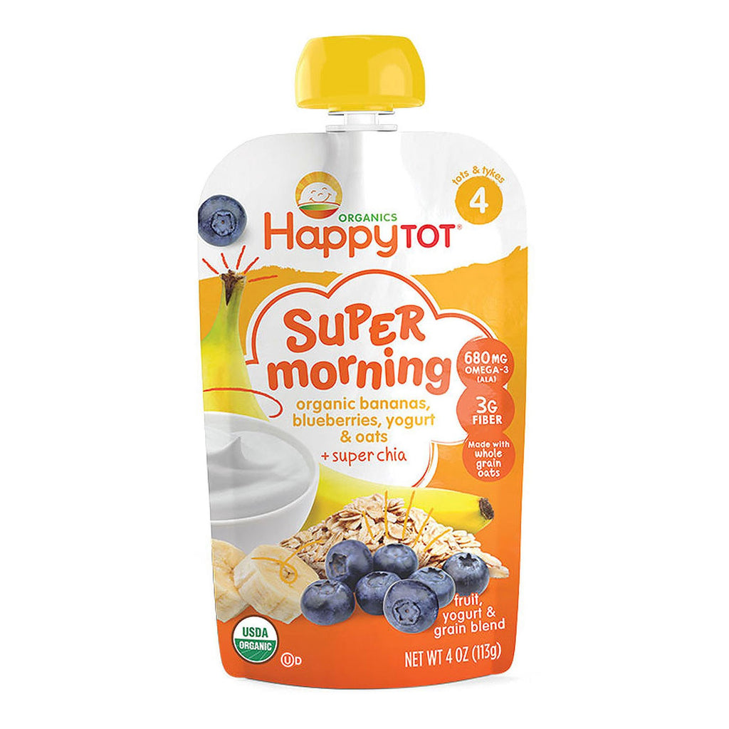 Nurture Inc. (Happy Baby) Happy Tot Stage 4 Super Morning Fruit Yogurt & Grain Blend Organic Bananas Blueberries Yogurt & Oats Plus Super Chia  4 oz (113 g)