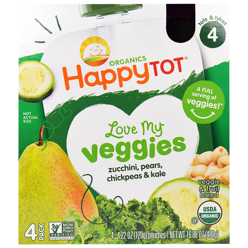 Nurture Inc. (Happy Baby) Happy Tot Love My Veggies Zucchini Pears Chickpeas & Kale 4 Pouch 4.22 oz (120 g) Each