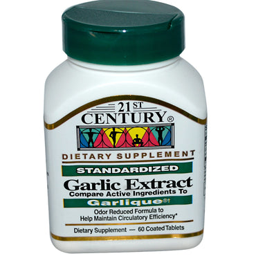 21st Century, Garlic Extract, Standardized, 60 Coated Tablets