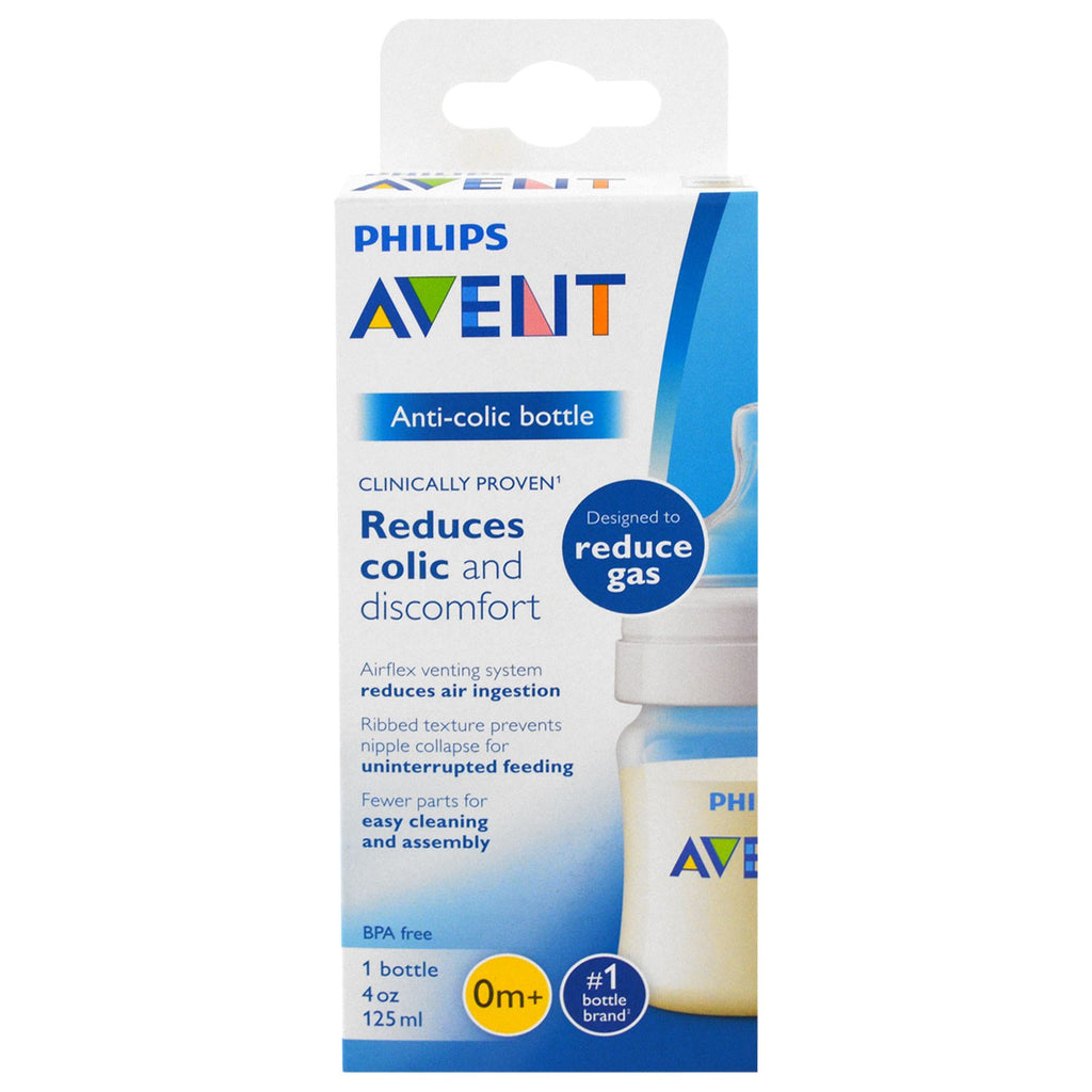 Philips Avent, Anti-Colic Bottle, 0 + Months, 1 Bottle, 4 oz (125 ml)