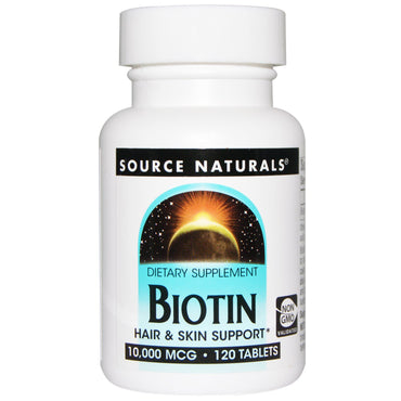 Source Naturals, Biotin, 10,000 mcg, 120 Tablets
