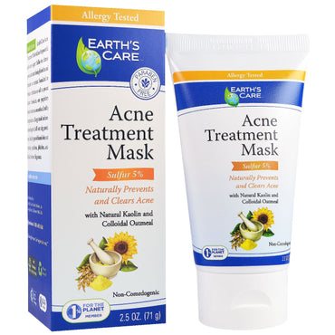 Earth's Care, Acne Treatment Mask, Sulfur 5%, 2.5 oz (71 g)