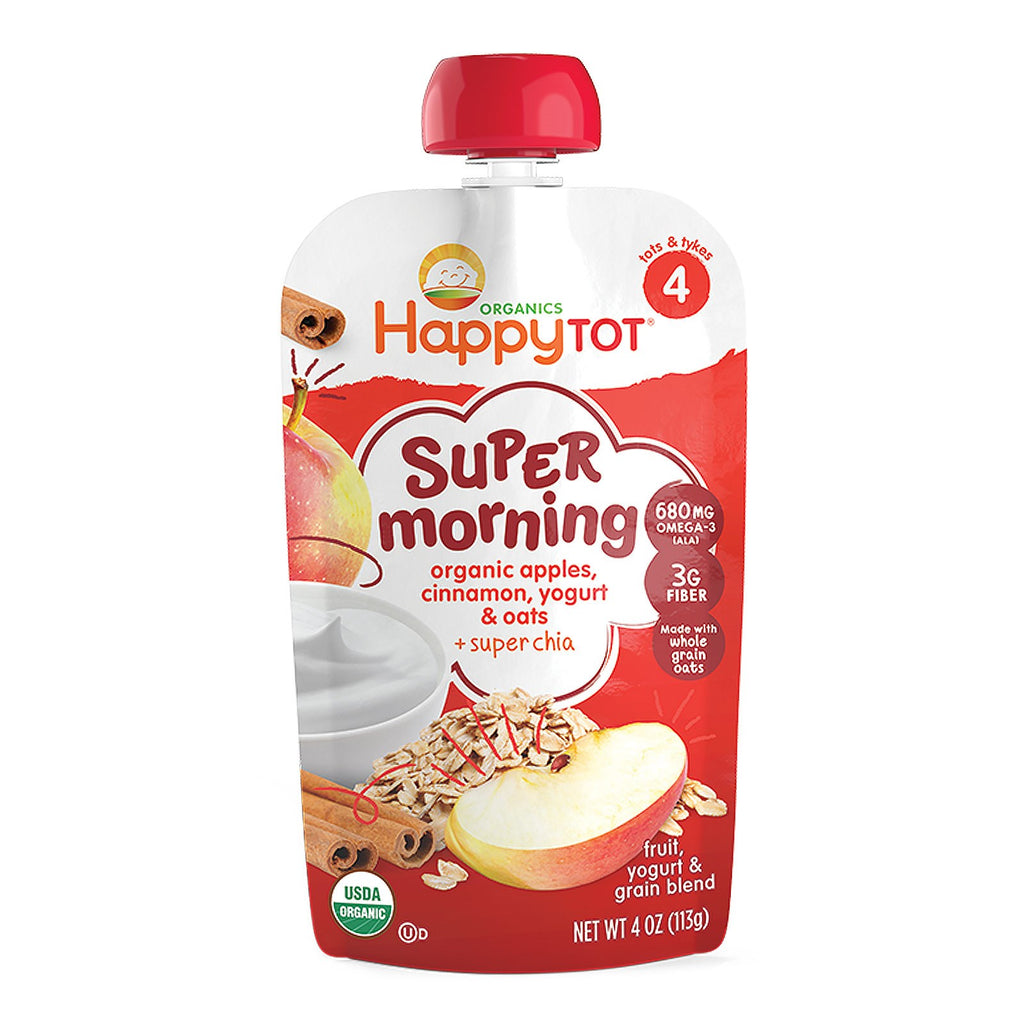 Nurture Inc. (Happy Baby) Happy Tot Stage 4 Super Morning Fruit Yogurt & Grain Blend Organic Apples Cinnamon Yogurt & Oats 4 oz (113 g)