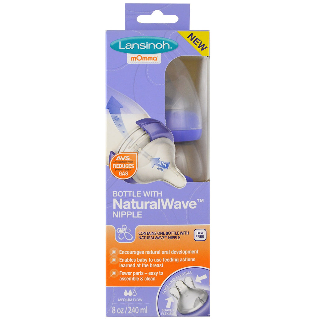 Lansinoh, Natural Wave Nipple Bottle, Medium Flow, 8 oz (240 ml)