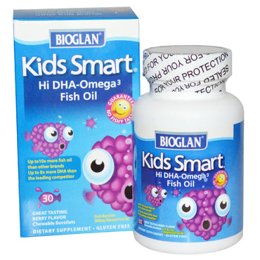 Bioglan, Kids Smart, Hi DHA-Omega 3 Fish Oil, Berry Flavor, 30 Chewable Burstlets