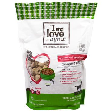 I and Love and You, Raw Homemade Dog Food, Raw Raw Beef Boom Ba Dinner, 1.5 lbs (0.68 kg)