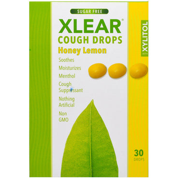 Xlear, Xylitol, Cough Drops, Sugar Free, Honey Lemon, 30 Drops