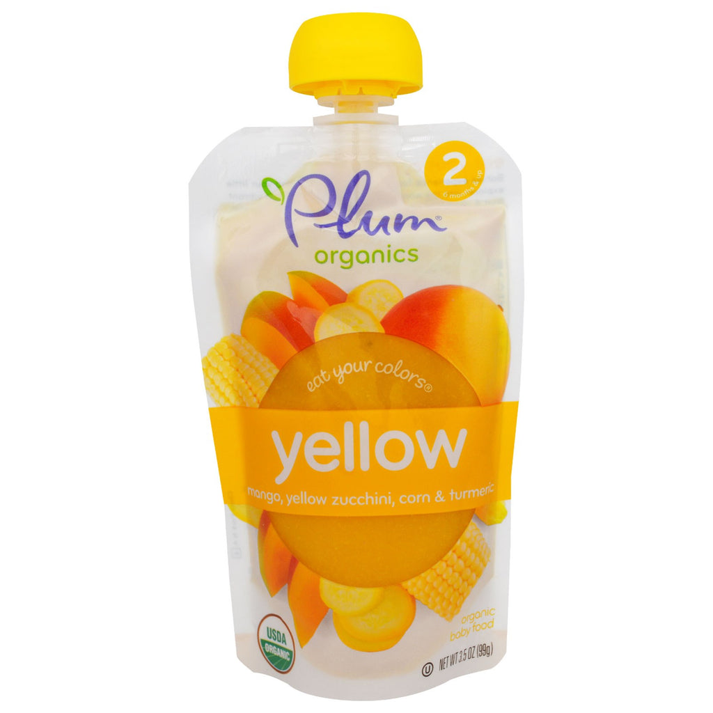 Plum Organics Stage 2 Eat Your Colors Yellow Mango Yellow Zucchini Corn & Turmeric 3.5 oz (99 g)