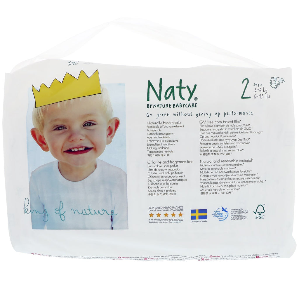 Naty, Diapers, Size 2, 6-13 lbs (3-6 kg), 34 Diapers