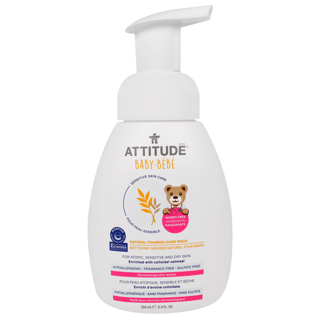 ATTITUDE, Sensitive Skin Care, Baby, Natural Foaming Hand Wash, Fragrance Free, 8.4 fl oz (250 ml)