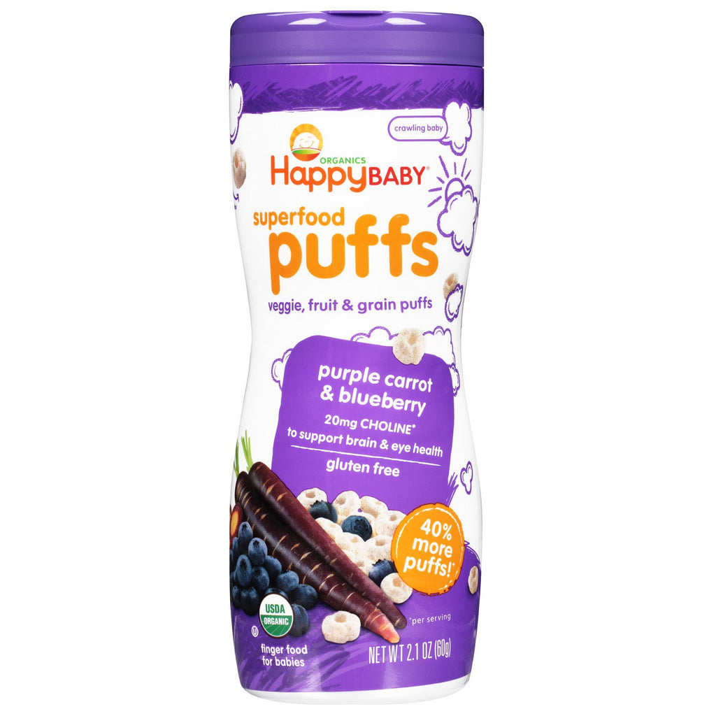 Nurture Inc. (Happy Baby) Organics Superfood Puffs Purple Carrot & Blueberry 2.1 oz (60 g)