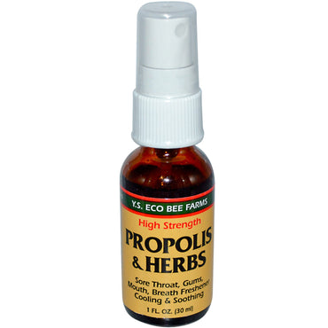 Y.S. Eco Bee Farms, Propolis & Herbs, High Strength, Spray, 1 fl oz (30 ml)
