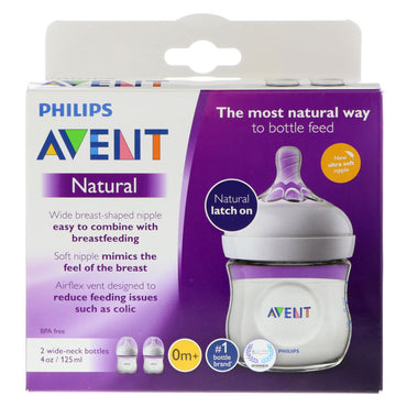 Philips Avent, Natural Latch On Bottle, 0 + Months, 2 Bottles, 4 oz (125 ml) Each