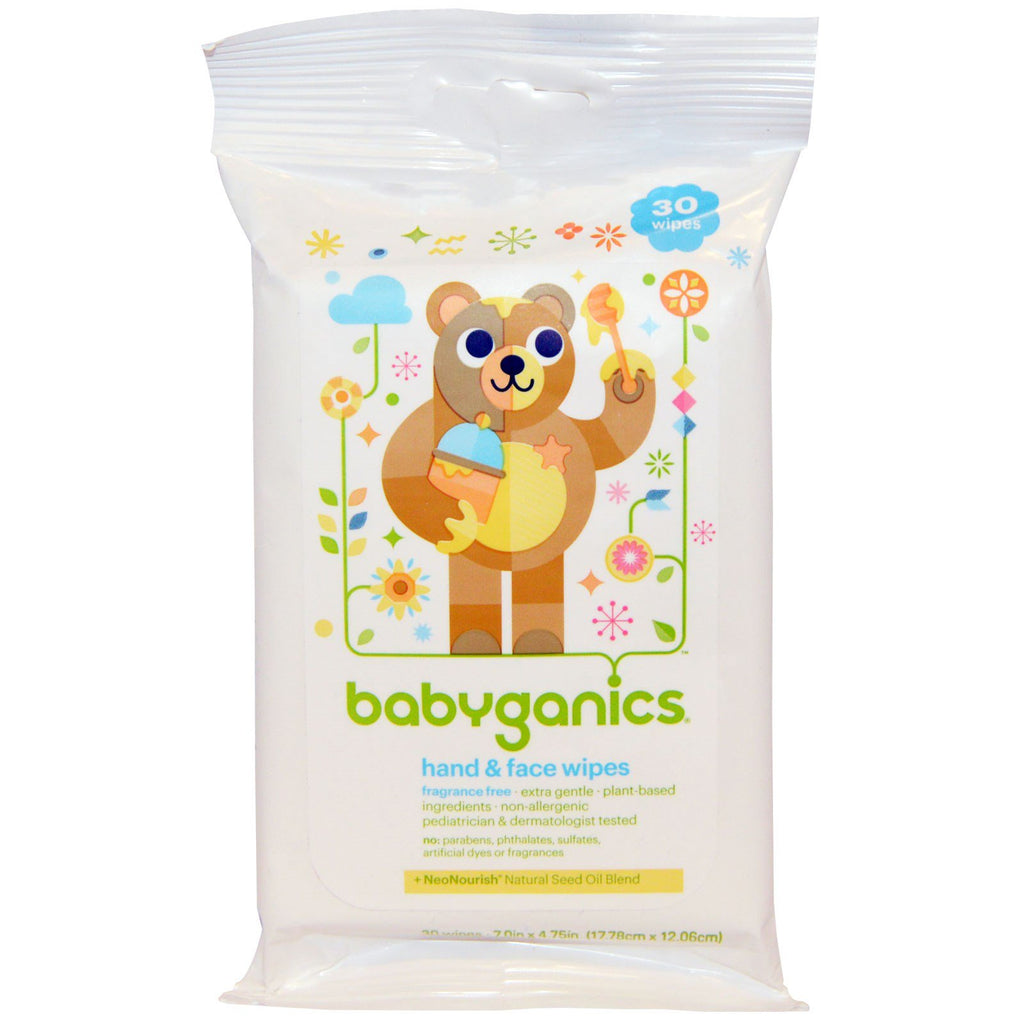 BabyGanics, Hand & Face Wipes, Fragrance Free, 30 Wipes
