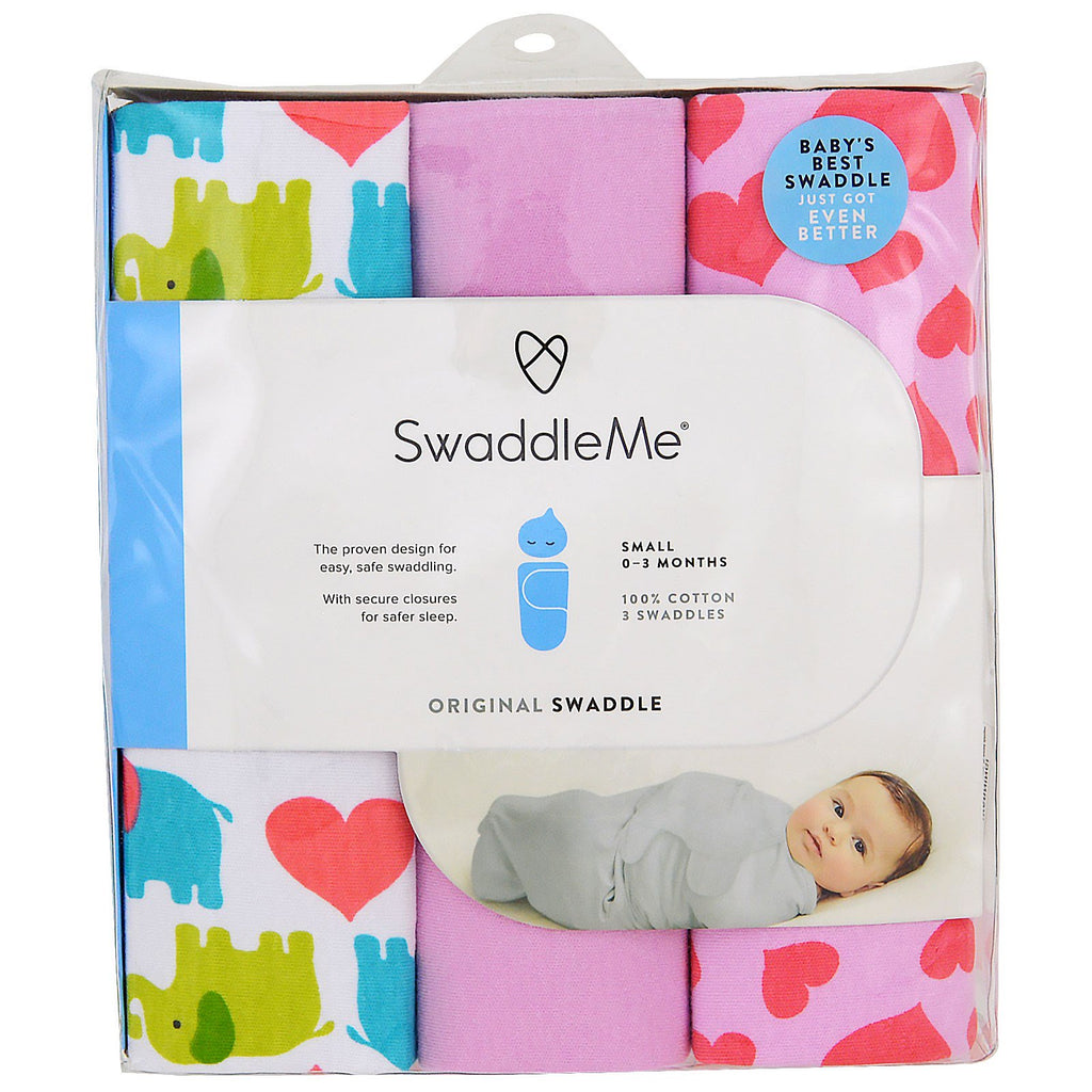 Summer Infant, Swaddle Me, Original Swaddle, Small, 0-3 Months, Elephant Hearts, 3 Swaddles