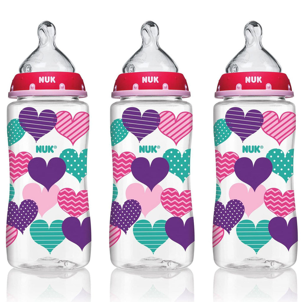 NUK, Bottle with Perfect Fit Nipple, 0+ Months, Medium, Hearts, 3 Wide-Neck Bottles, 10 oz (300 ml) Each