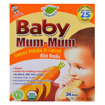 Hot Kid, Baby Mum-Mum, Organic Sweet Potato & Carrot Rice Rusks, 24 Rusks, 1.76 oz (50 g) Each