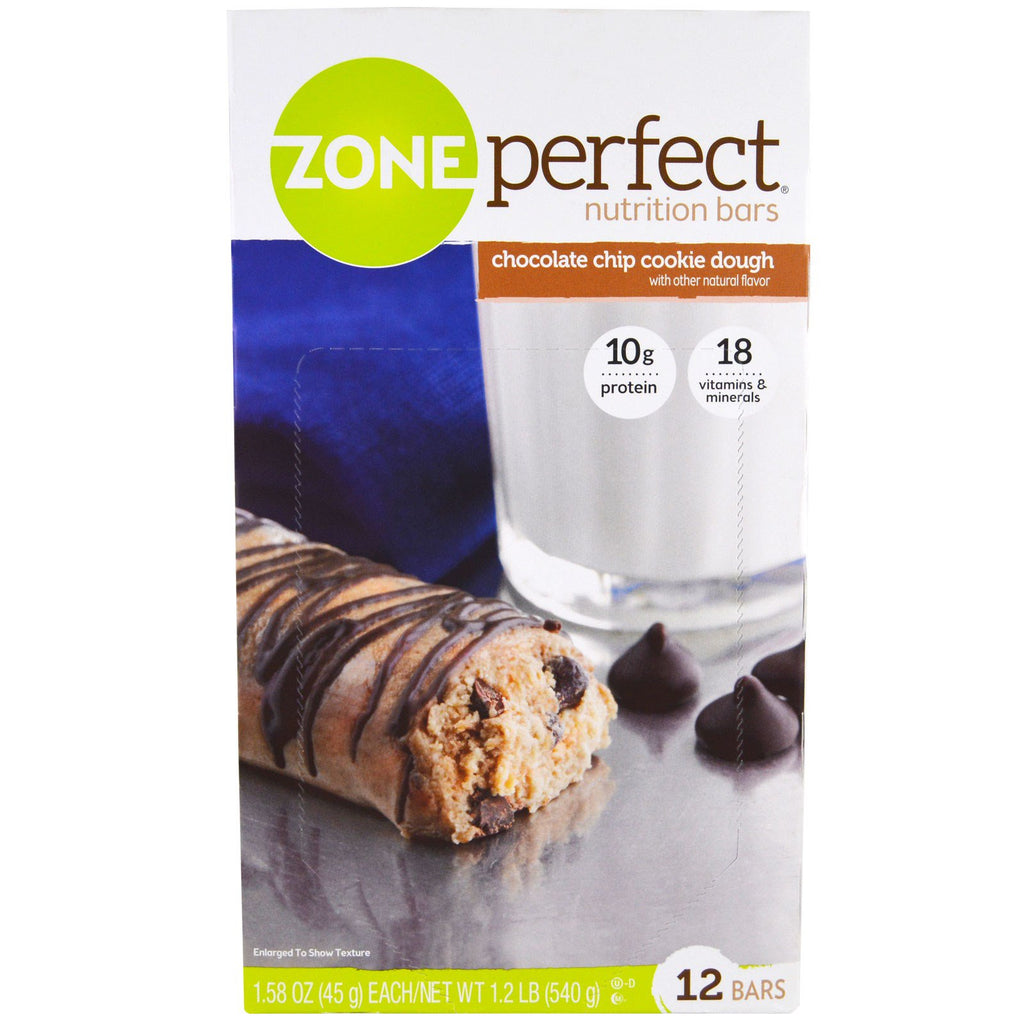 ZonePerfect Nutrition Bars Chocolate Chip Cookie Dough 12 Bars 1.58 oz (45 g) Each