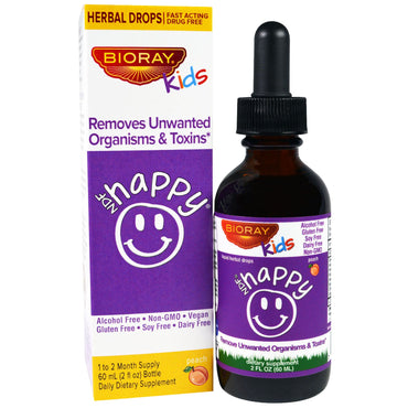 Bioray Inc., NDF Happy, Removes Unwanted Organisms & Toxins, Kids, Peach Flavor, 2 fl oz. (60 ml)