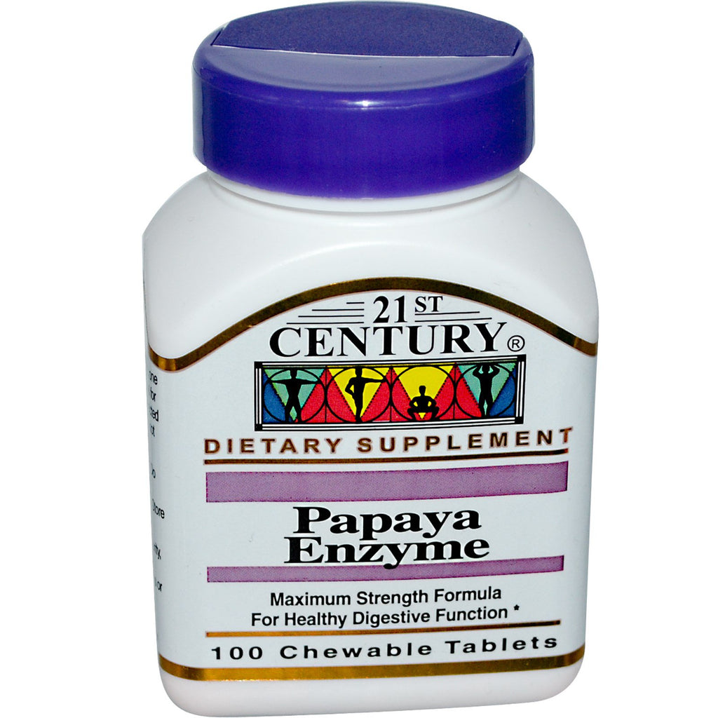 21st Century, Papaya Enzyme, 100 Chewable Tablets