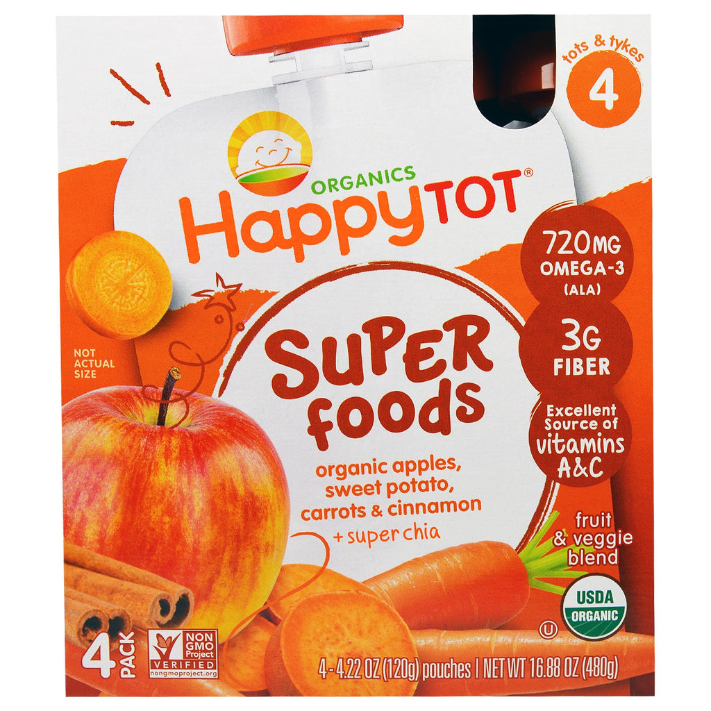 Nurture Inc. (Happy Baby) HappyTot SuperFoods Organic Apples Sweet Potato Carrots & Cinnamon + Superchia 4 Pouches - 4.22 oz (120 g) Each