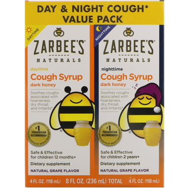 Zarbee's Naturals Children's Cough Syrup with Dark Honey Daytime & Nighttime Value Pack Natural Grape Flavor 4 fl oz (118 ml) Each