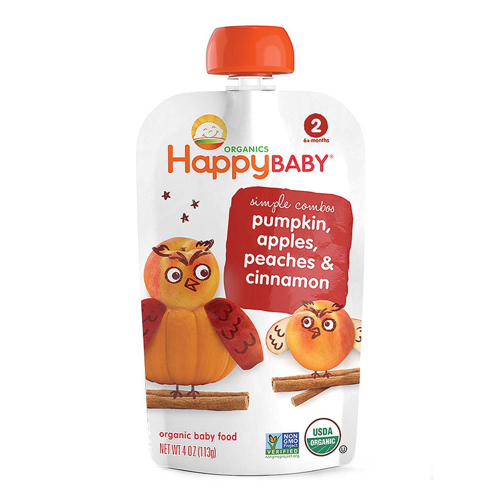 Nurture Inc. (Happy Baby) Organic Baby Food Pumpkin Apples Peaches & Cinnammon Stage 2 6+ Months 4oz (113 g)