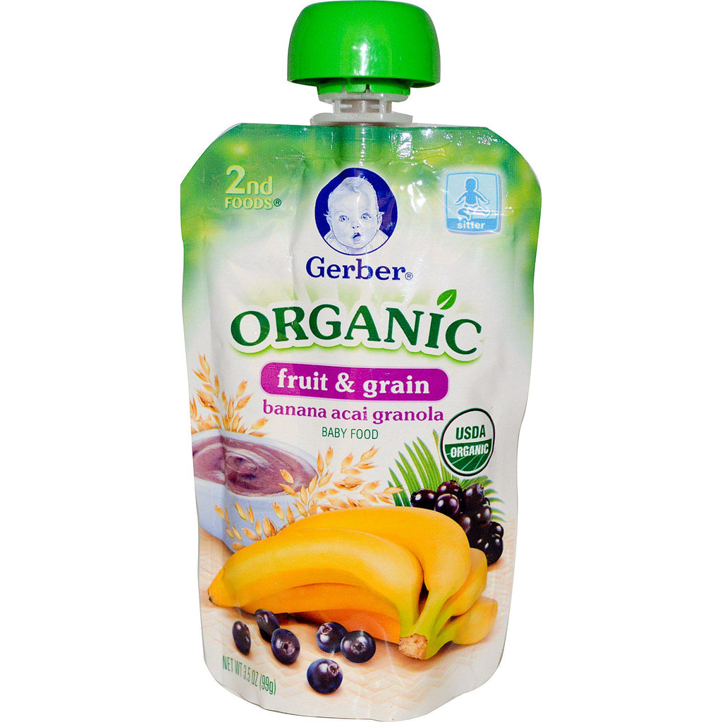 Gerber 2nd Foods Organic Baby Food Fruit & Grain Banana Acai Granola 3.5 oz (99 g)