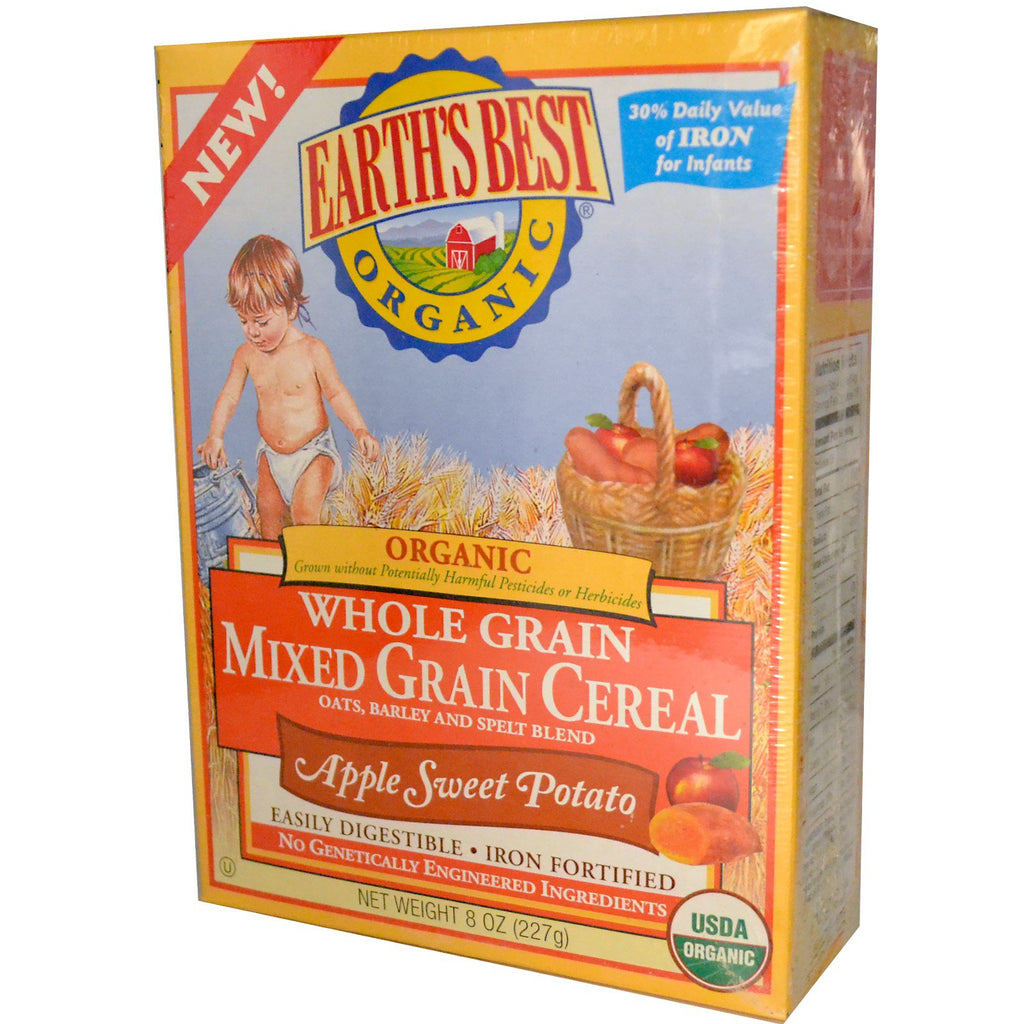 Earth's Best Organic Whole Grain Mixed Grain Cereal Apple Sweet Potato 8 oz (227 g)