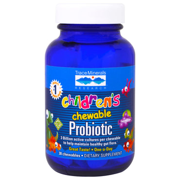 Trace Minerals Research, Children's Chewable Probiotic, Concord Grape, 30 Chewables