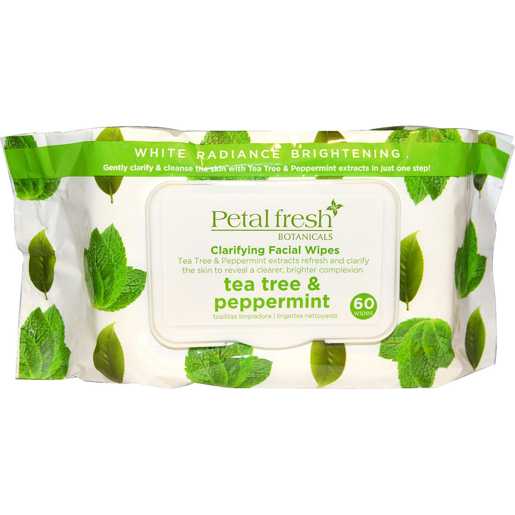 Petal Fresh, Botanicals, Clarifying Facial Wipes, Tea Tree & Peppermint, 60 Wipes