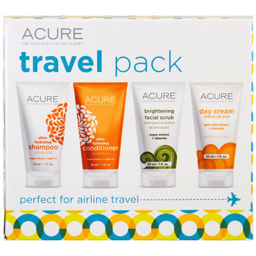 Acure, Travel Pack, Shampoo, Conditioner, Brightening Facial Scrub, Day Cream, 4 Pack, 1 oz (30 ml) Each