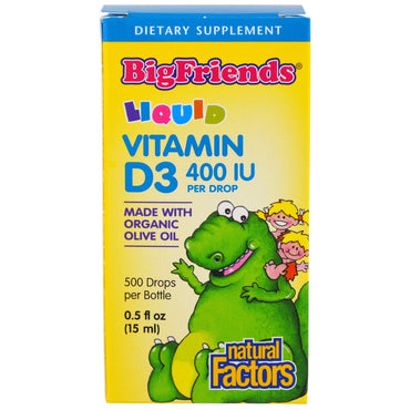Natural Factors, Big Friends, Liquid, Vitamin D3, 400 IU, 0.5 fl oz (15 ml)
