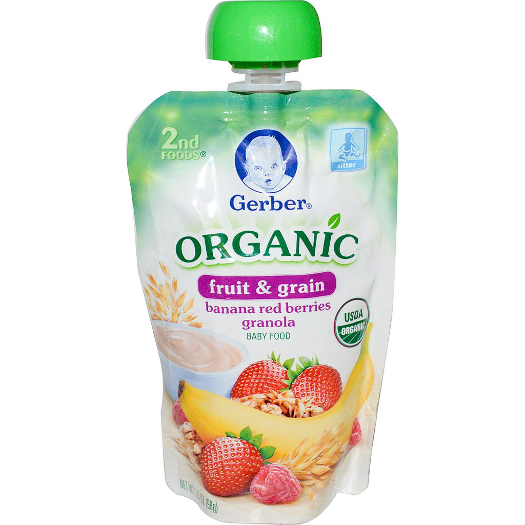 Gerber 2nd Foods Organic Baby Food Fruit & Grain Banana Red Berries Granola 3.5 oz (99 g)