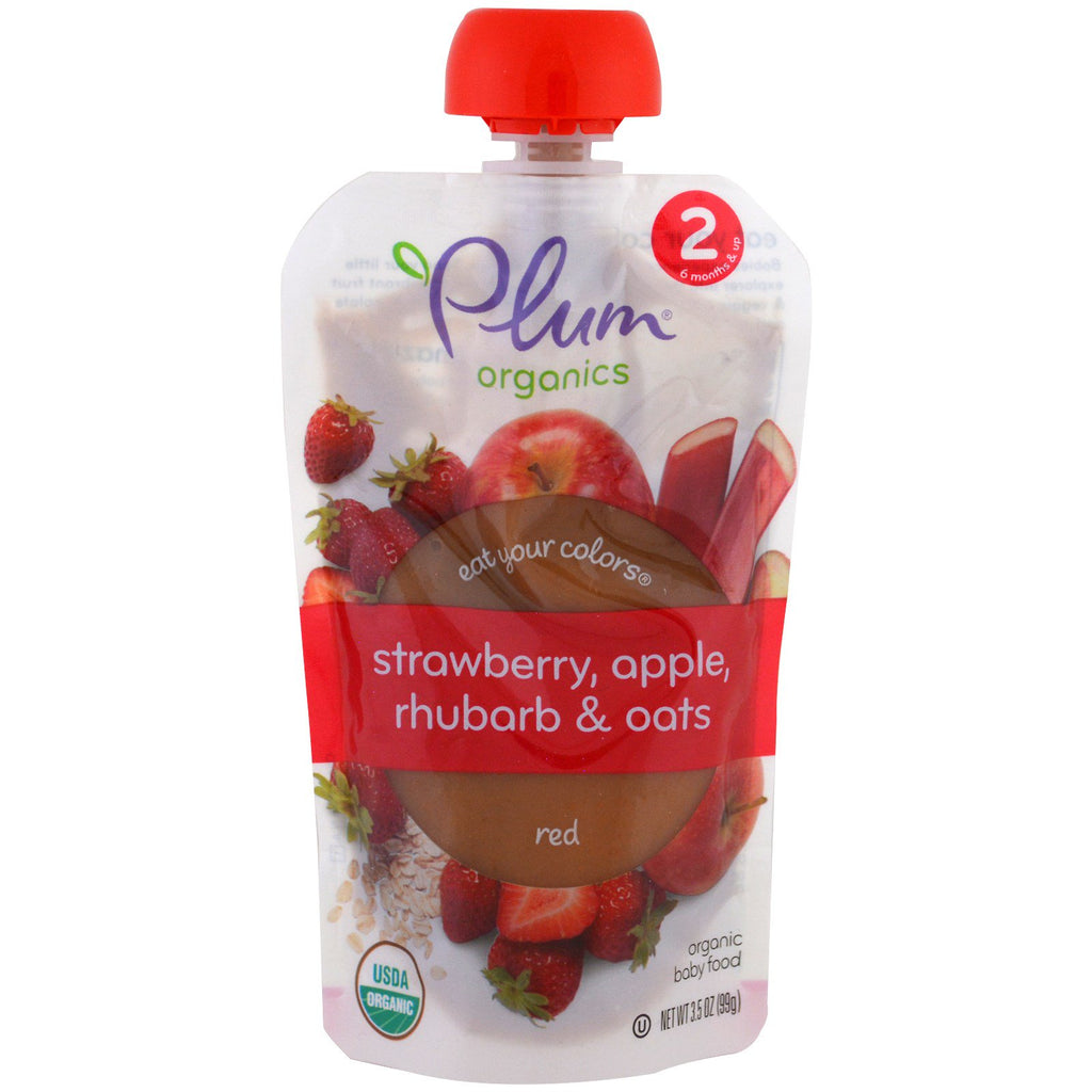 Plum Organics Stage 2 Eat Your Colors Red Strawberry Apple Rhubarb & Oats 3.5 oz (99 g)