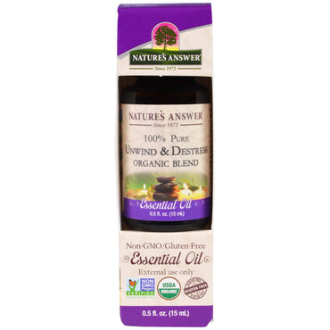 Nature's Answer 100% Pure Organic Blend Essential Oil Unwind & Destrees  0.5 fl oz (15 ml)