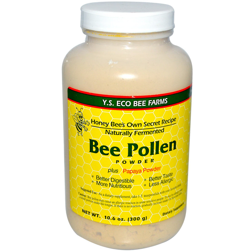 Y.S. Eco Bee Farms, Bee Pollen Powder, Plus Papaya Powder, 10.6 oz (300 g)