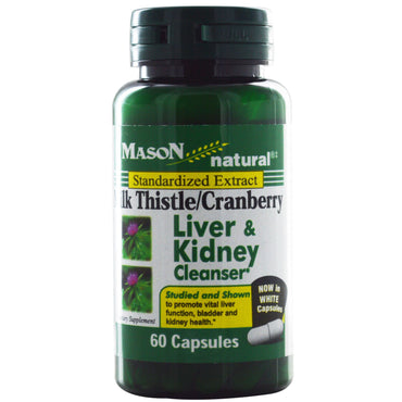 Mason Natural, Milk Thistle/Cranberry, Liver & Kidney Cleanser, 60 Capsules