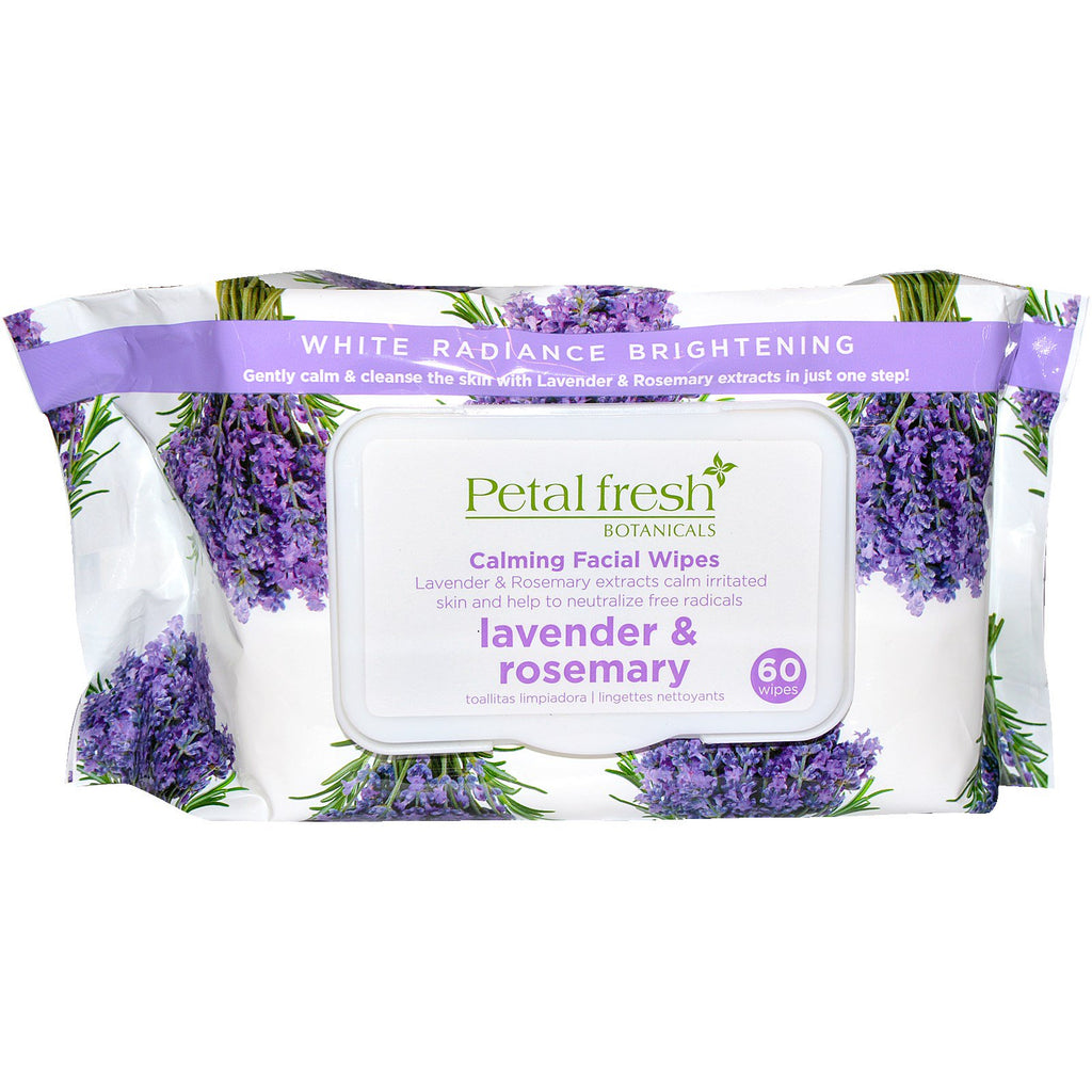 Petal Fresh, Botanicals, Calming Facial Wipes, Lavender & Rosemary, 60 Wipes