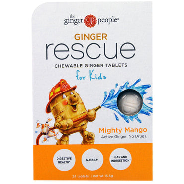 The Ginger People, Ginger Rescue, Chewable Ginger Tablets for Kids, Mighty Mango, 24 Tablets (15.6 g)