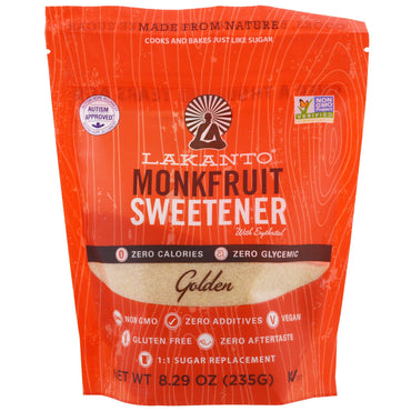 Lakanto, Monkfruit Sweetener with Erythritol, Golden, 8.29 oz (235g)