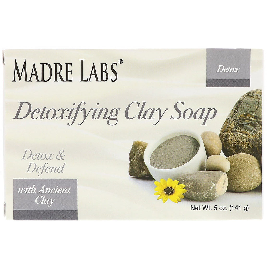 Madre Labs, Detoxifying Clay, Bar Soap, Eucalyptus & Peppermint, with Ancient Clay, 5 oz (141 g)