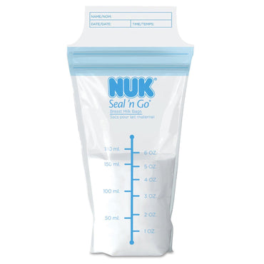 NUK, Seal 'n Go, Breast Milk Bags, 100 Pre-Sterilized Storage Bags, 6 oz (180 ml) Each