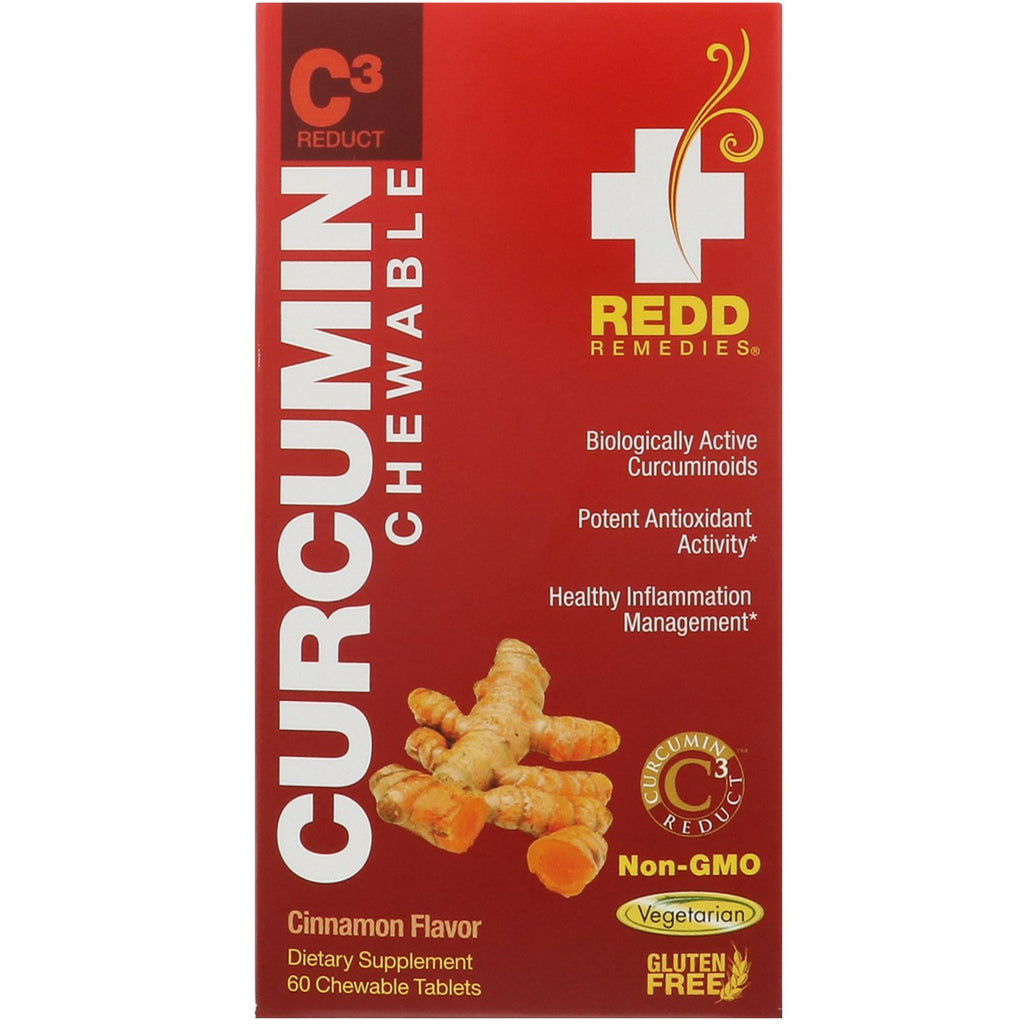 Redd Remedies, Curcumin C3 Reduct, Cinnamon Flavor, 60 Chewable Tablets