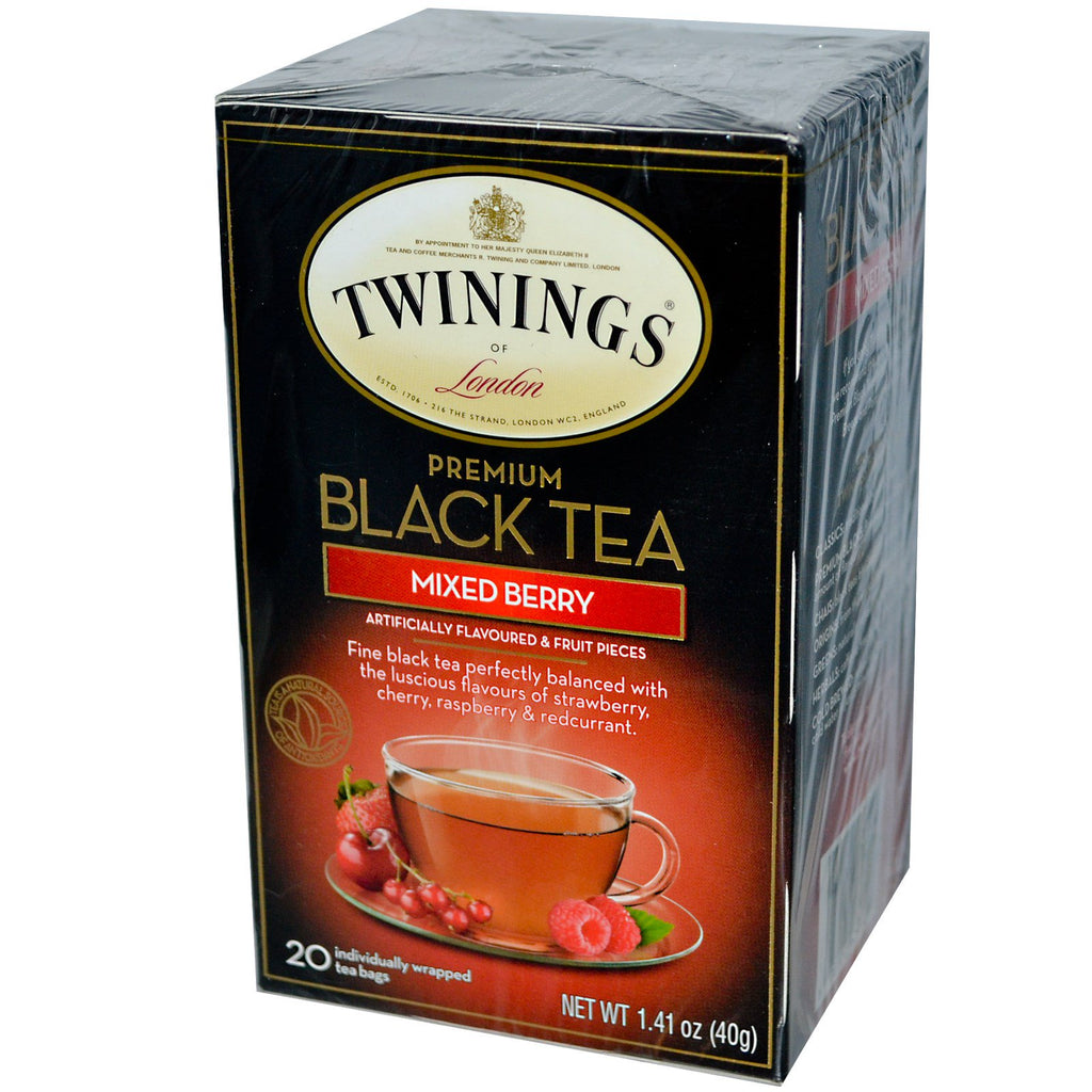 Twinings, Premium Black Tea, Mixed Berry, 20 Tea Bags, 1.41 oz (40g)